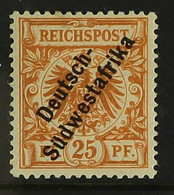 GERMAN SOUTH WEST AFRICA 1898-99 25pf Yellowish Orange Overprint Without Hyphen (Michel 9a, SG 9), Never Hinged Mint, Ti - Non Classificati