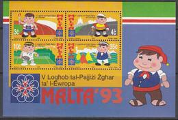 MALTA Block 12, Postfrisch **, Sportspiele Der Europäischen Kleinstaaten, 1993 - Malta