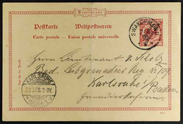 SOUTH WEST AFRICA 1898 (3 Mar) 10pf Diagonal Opt Postal Stationery Card To Germany With Very Fine SWAKOPMUND Cds Cancel  - Non Classificati