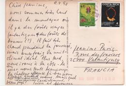 2 Beaux Timbres , Stamps Dont Bijou , Institut Géographique Sur Cp , Carte , Postcard Du 08/04/1990 - Costa Rica