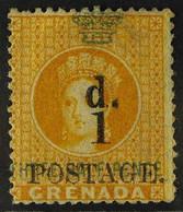 "1886 1d On 1½d Orange, Variety ""THRFE For THREE"", SG 37c, Very Fine Used. For More Images, Please Visit Http://www.sanda - Grenada (...-1974)"