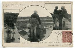 CPA 1906 3 Vues * Petits Métiers Populaires Les Glaneuses De La Mer Cueillette Du Goëmon En Bretagne - Bretagne