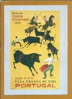 Postal Com O Cartaz Da Festa Do Colete Encarnado De 1959, Vila Franca De Xira. Cavalo. Campino. Touro Ribatejo. Santarém - Santarem