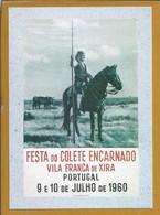 Postal Com O Cartaz Da Festa Do Colete Encarnado De 1960, Vila Franca De Xira. Cavalo. Campino. Ribatejo. Santarém - Santarem