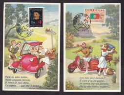 Portugal: 2x Picture Postcard, 1961, 2 Stamps, Unused, Cards: Cartoon, Scooter, Tricycle Car (1x Corner Crease) - Lettres & Documents