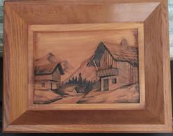 Tableau En Bois : Chalets De Montagne En Reliefs Pyrogravés Signé C H Juke - Legni
