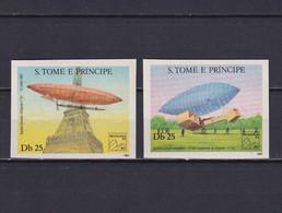 SAO TOME AND PRINCIPE 1983, Mi# 827 B - 828 B, Imperf, Airships, MNH - Sao Tome En Principe