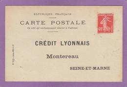 CARTE POSTALE ADRESSEE AU CREDIT LYONNAIS A MONTEREAU,NON UTILISEE. - Covers & Documents