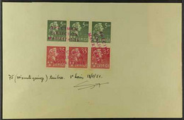 1940 MAURITANIA UPU SPECIMENS For The 1940 Bellman 5 Ore And 35 Ore Set, SG 244/245, In Horizontal Strips Of Three Affix - Non Classés