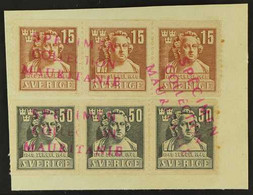 1940 MAURITANIA UPU SPECIMENS For The 1940 Sergel 15 Ore And 50 Ore Set, SG 246/247, In Horizontal Strips Of Three Affix - Non Classés