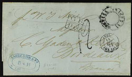 1872 (7 Nov) Stampless Entire Letter To France, Endorsed 'Per W. I. Mail', Bearing Various Postal Markings Incl Boxed An - Venezuela