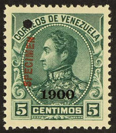 "1900 5c Blue-green Bolivar With ""1900"" Overprint And With ""Specimen"" Overprint In Red (Scott 156, SG 214), Never Hinged  - Venezuela"