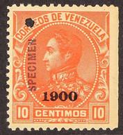 "1900 5c Vermilion Bolivar With ""1900"" Overprint And With ""Specimen"" Overprint In Red (Scott 157, SG 215), Fine Mint, Wit - Venezuela"