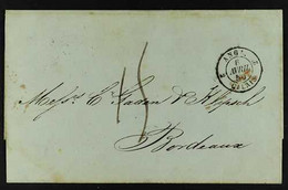 """BRITISH POST OFFICE 1850 (9 March) Entire Letter Addressed To France, Bearing British Post Office """"LA GUAYRA"""" Cds Cancel - Venezuela"""