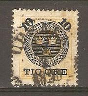 Suède 1889 - YT 40° - N° 22 Surchargé 10 öre - Oblitérés