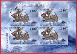 A3817 - BURUNDI, Error, 2012, IMPERF, MINIATURE SHEET: Medieval Ships, Boats - Ships