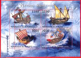 A3820 - BURUNDI, Error, 2012, МISPERF, MINIATURE SHEET: Medieval Boats, Ships - Ships