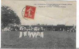 33 GIRONDE BAZAS JOURNEE PATRONAGE MATELOTS PUPILLES LA FLECHE St MICHEL BORDEAUX 1907   ANIMATION JOLI PLAN - Bazas