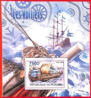 A3824 - BURUNDI, Error, 2012, МISPERF, SOUVENIR SHEET: Sailing Boats, Viking Ships - Ships