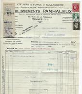 Sur Une Facture ATELIERS DE FORGE De RENNES  Marianne De DULAC CHAINES  MAZELIN  1946 - 1944-45 Marianne Of Dulac