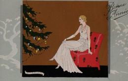 Illustrée ARS NOVA Peinte à La Main, Signée MESCHINI : Femme Au Sapin De Noël . - Andere Illustrators