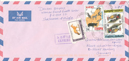 Ethiopia Air Mail Cover Sent Express To Germany 23-10-1999 BIRD Stamps - Etiopia