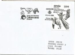 ESPAÑA SPAIN FDC OBREGON CANTABRIA PARQUE CABARCENO CEBRA JIRAFA ELEFANTE ELEPHANT ZEBRA - Elefanten