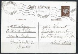 NZ-/-104- CP PETAIN 80c - OBL. MONACO FEVRIER 1942 Via SEINE ET OISE , VOIR IMAGES POUR DETAILS, - Postal Stationery