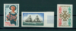 FRANCE, 3 PAIRS MNH/NSCH  1965, IMPERFORATED / NON DENTELE - Ongetand