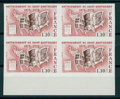FRANCE, RATTACHEMENT ST. BARTHHELEMY 1978, BLO4 MNH / NSCH IMPERFORATED / NON DENTELE - Ongetand
