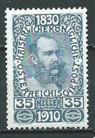 Autriche YT N°129 François-Joseph 1° 1830-1910 Neuf/charnière * - Unused Stamps