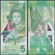 Eastern Caribbean St. - 5 Dollars 2021 UNC Polymer Lemberg-Zp - Caraïbes Orientales