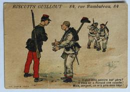 Chromo Biscuits Guillout 84 Rue Rambuteau Paris Belle Illustration Humour Militaria - Altri