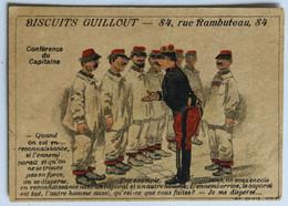 Chromo Biscuits Guillout 84 Rue Rambuteau Paris Belle Illustration Humour Militaria Conférence Du Capitaine - Altri