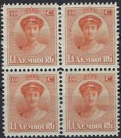 Luxembourg - Luxemburg -  Timbre  1921  Charlotte   Bloc à 4 - 40C.  MNH** - 1921-27 Charlotte Voorzijde