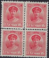 Luxembourg - Luxemburg -  Timbre  1921  Charlotte   Bloc à 4 - 30C.  MNH** - 1921-27 Charlotte Voorzijde