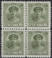Luxembourg - Luxemburg -  Timbre  1921  Charlotte   Bloc à 4 - 3C.  MNH** - 1921-27 Charlotte Voorzijde