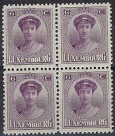 Luxembourg - Luxemburg -  Timbre  1921  Charlotte   Bloc à 4 - 6C.  MNH** - 1921-27 Charlotte Voorzijde