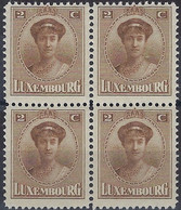 Luxembourg - Luxemburg -  Timbre  1921  Charlotte   Bloc à 4 - 2C.  MNH** - 1921-27 Charlotte Voorzijde