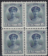 Luxembourg - Luxemburg -  Timbre  1924  Charlotte   Bloc à 4 - 75C.  MNH** - 1921-27 Charlotte Voorzijde