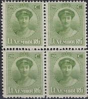 Luxembourg - Luxemburg -  Timbre  1925  Charlotte   Bloc à 4 - 20C.  MNH** - 1921-27 Charlotte Voorzijde