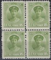 Luxembourg - Luxemburg -  Timbre  1921  Charlotte   Bloc à 4 - 10C.  MNH** - 1921-27 Charlotte Voorzijde
