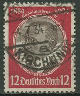 Deutsches Reich 1934 Kolonialforscher Senkr. Gummiriffelung 542 X Gestempelt - Oblitérés