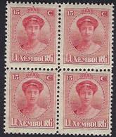Luxembourg - Luxemburg -  Timbre  1921  Charlotte   Bloc à 4 - 15C.  MNH** - 1921-27 Charlotte Voorzijde