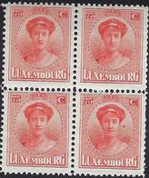 Luxembourg - Luxemburg  -  Timbres  1922  Grande-Duchesse  Charlotte   Bloc à 4  MNH** - 1921-27 Charlotte Voorzijde