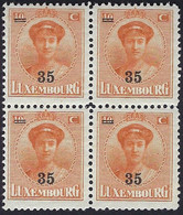 Luxembourg - Luxemburg  -  Timbres  1927 Usage Courant  Grande-Duchesse  Charlotte   75C  Bloc à 4  MNH** - 1921-27 Charlotte Voorzijde
