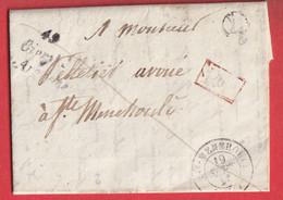 CURSIVE 49 GIVRY EN ARGONNE MARNE BOITE RURALE L VIEUX DAMPIERRE + PP ROUGE TAXE LOCALE 1 AU DOS - 1801-1848: Precursori XIX