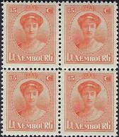 Luxembourg - Luxemburg  -  Timbres  1926  Grande-Duchesse  Charlotte   15C  Bloc à 4  MNH** - 1921-27 Charlotte Voorzijde