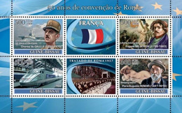Guinea Bissau 2008, 50th Rome According, France, De Gaulle, Train, Art, Ships, 4val In BF - Ships