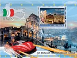 Guinea Bissau 2008, 50th Rome According, Italy, Ferrari, Pope J. Paul II, BF - Monuments